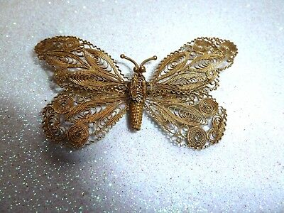 Antique Dark Gold Tone Filigree Butterfly Brooch Stamped