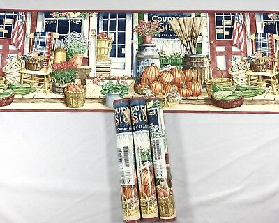 Waverly Wallpaper Border Rust Blue Rustic Country Store Scene 3 Roll Lot Pumpkin
