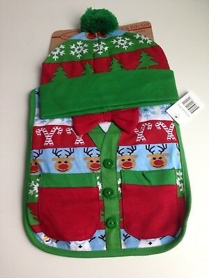 NEW w/Tags Baby Infant Christmas UGLY SWEATER Style Bib & Beanie Hat Set 0-12M