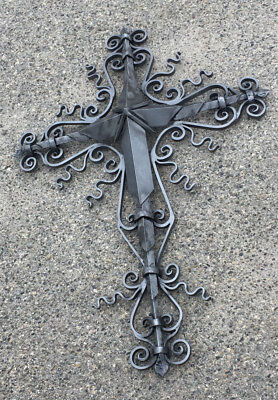 4.5 ft Sanctvs Divinvs Steel Wall Cross by Frank Jackson Forge