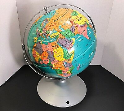 "NYSTROM Sculptural Raised Relief Double Axis 12"" Globe on Metal Base"