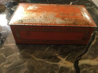 Vintage Metal Hinged Empty One Pound Johnston's Chocolates Candy Advertising Tin