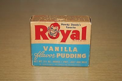 Vintage Howdy Doody UNOPENED Royal Vanilla Pudding Box with #1 Trading Card