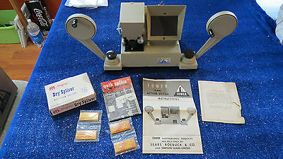 Vintage Tower Action 9383 8mm Film Editor w/ Viewer + Instructions + Dry Splicer