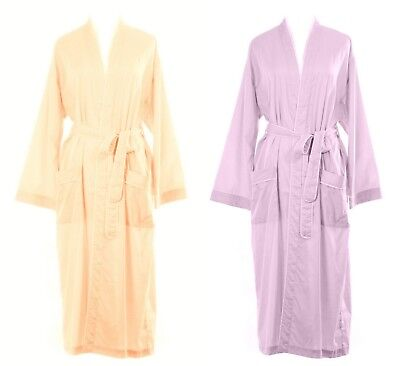 **THREE COLOURS** Womens 100% Organic Fine Cotton Poplin Summer Dressing Gown