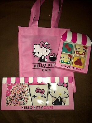 2017 Hello Kitty Cafe Truck 3pc Cookie Set & Petit 4 Minicakes & Tote Bag