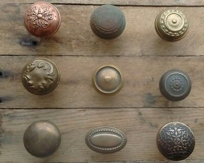 Antique Vintage Victorian Brass Door Knob Collection Lot - 9 Knobs - Ornate