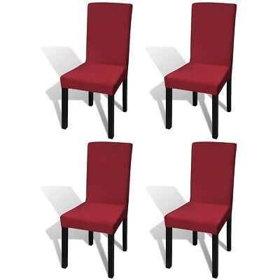 4 pcs Straight Stretchable Chair Cover Protector Party Wedding Banquet Bordeaux