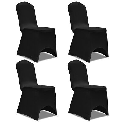 4 pcs Stretch Chair Seat Cover Protector Dining Room Party Wedding Banquet Black