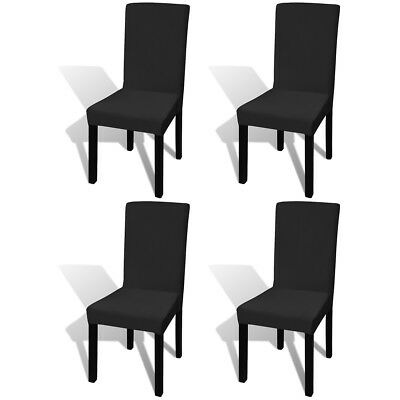 4 pcs Straight Stretchable Chair Cover Protector Party Wedding Banquet Black