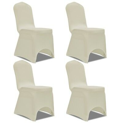 4 pcs Stretch Chair Seat Cover Protector Dining Room Party Wedding Banquet Cream