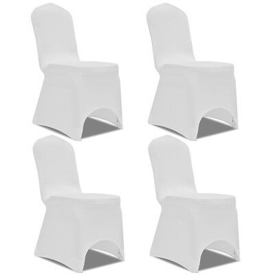 4 pcs Stretch Chair Seat Cover Protector Dining Room Party Wedding Banquet White