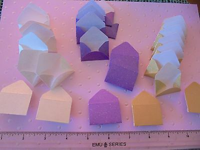 30 X  Lightly Glittered Tiny Paper Envelopes.   3 X Colours Only 99P