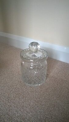 Large crystal cut glass jar and lid