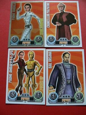 Topps Force Attax Star Wars Trading Cards. Blue. 4 Senate Cards. 1 Foil