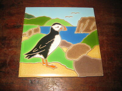 Kenneth & Jacqueline Besheer Art Tile Of A Puffin American
