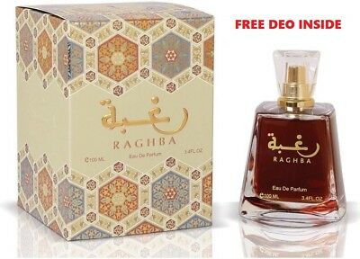 *New* Raghba 100ml by Lattafa Sweet Powdery Woody Musky With Free Gift Inside