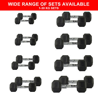 Hex Dumbbells Rubber Dumbell Weights Gym Sets - Pairs 1kg - 30kg