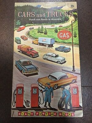 VINTAGE RARE Cars and Trucks PUNCH OUTS book 1958!! UNCUT ORIGINAL - SEE PICS!!!