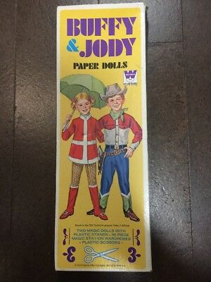 BUFFY & JODY Vintage Paper Dolls - Over 30 Pieces + Stands + Scissors - WHITMAN