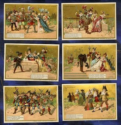 SERIE 6 CHROMOS au BON MARCHE bm220 CHANSON MALBROUGH MINOT Song Old trade Card