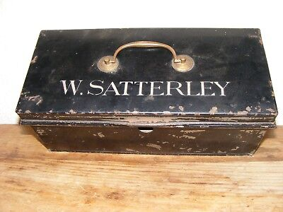 Vintage Deed Metal Box Black Paint Tatty Shabby Chic Decorative