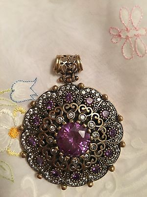 AMAZING ! Antique Vintage Huge Silver 925 Pendent Amethyst And Sapphire(25G)