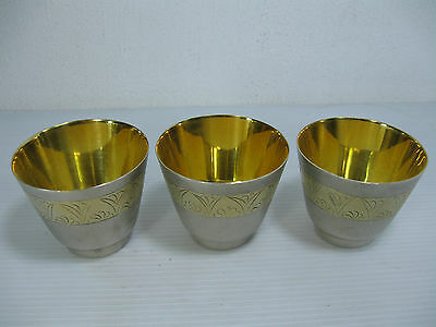 A Lot Of Three Special Vintage Russia 875 Solid Silver Cups/goblets