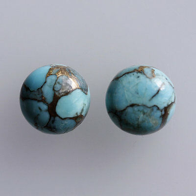 25MM Round Shape, Blue Copper Turquoise Calibrated Cabochons AG-233