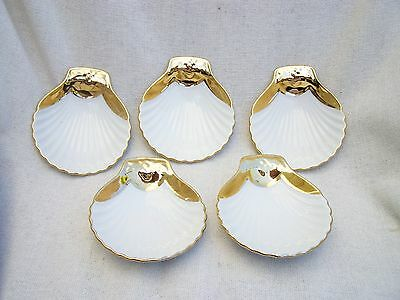 ROYAL WORCESTER WHITE & GOLD TRIM OYSTER DISH PLATTER DISHES ~ 5 in TOTAL ~