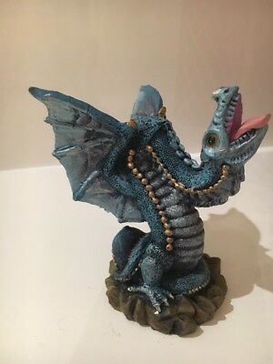 Mythical Creatures Dragon Ornament Blue Resin 7 Cm High