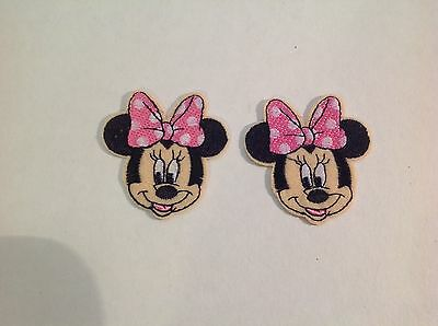 New Disney Minnie Mouse Pink Embroidered Patch - Applique  Iron-on / Sew On Red