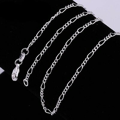 "2Mm Solid 925 Sterling Silver Figaro Chain Necklace 16 18 20 22 24 "" Inch"