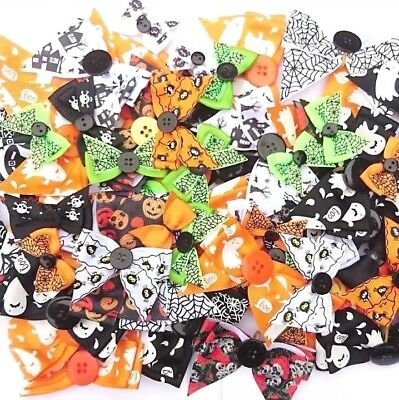 20 HALLOWEEN ASSORTED DOG COLLAR BOWS costume cute dressup groomers grooming