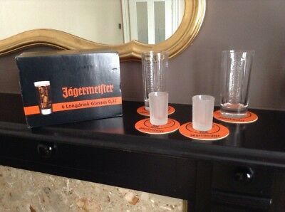 Jagermeister Tall Heavy Quality Branded 2 X Long Drink 2 X Shot Glasses & 4 Mats