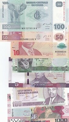 Africa Excelent Lot Of 7 Different Banknotes Uncirculated,(D)