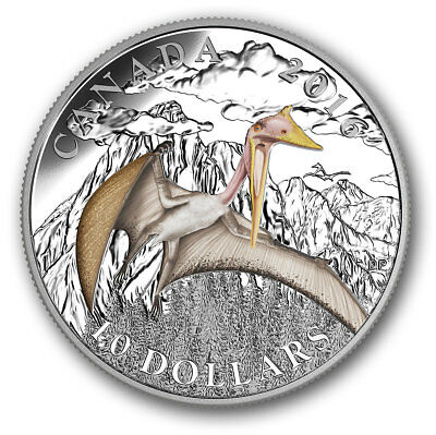 Dinosaurs Terror of the Sky $10 2016 Pure Silver Proof Colour Coin Canada