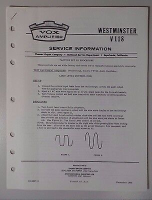 Original Vox Amplifier - Westminster V118 - Service Information