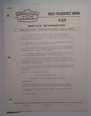 Original VOX High Frequency Horn V-826 - Service Information Sheet