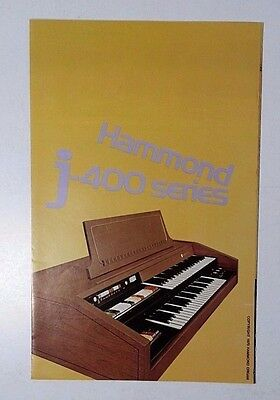 1970 Hammond Organ J-400 Series Color Fold-out Brochure