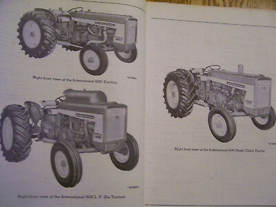 Vintage  Ihc International Harvester  Parts  Manual -606 & 2606 Farmall Tractors
