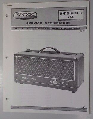 Original Vox Amplifier - Booster Amplifier V836 - Service Information