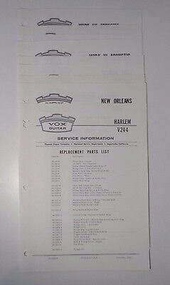 1966-67 VOX Guitar Service Replacement Parts Lists (x11)  V244 V245 V246 V247+