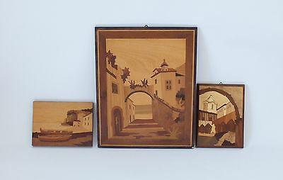 Vintage Inlaid Marquetry Wood Cut Veneer Plaque, Wall Hanging, Pictures Sorrento