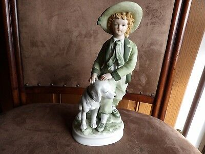 """Andrea by Sadek figurine boy w/green suit & white dog 7154 porcelain 9 1/4"""" exce"""