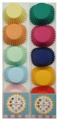 200 mini cupcake cases baking muffin cake petits fours 10 assorted colours