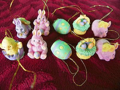 Miniature Easter hanging ornaments set of 10