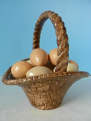 Atlantic Molds ceramic Easter basket with 9 ceramic eggs inside (  sealed unit )