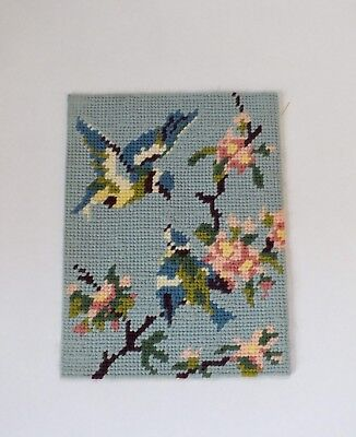 Vintage Completed Tapestry Needlepoint Birds Blue Tits