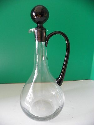 """Large glass cruet/ pitcher with black handle & stopper 14"""" tall"""